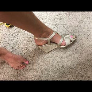 """Nordstrom Shoes - Gold 4"""" Heel Designer Sandal"""